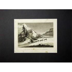 """Антикварная гравюра """"Снежные сани, запряженные собаками, в Камчатке"""". 1829 год."""