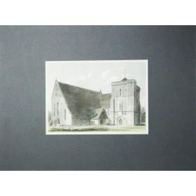 """Старинная гравюра """"Церковь св. Марии в Климпинге"""". Англия, 1835 год."""