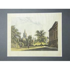 """Старинная гравюра """"Колледж в Оксфорде. Корпус Кристи и церковь Христа"""".Англия, 1814 год."""