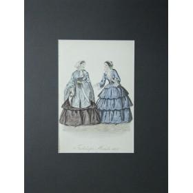 Антикварная гравюра для журнала моды. Ноябрь, 1851 год.