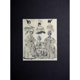 "Антикварная гравюра для журнала ""The last&newest fashions"". Англия, 19 век."