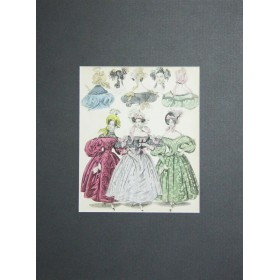 "Старинная гравюра для журнала моды ""The World of fashion and continental feuilletons"".Англия, 1824 год."