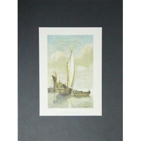 Антикварная гравюра Яхта принца Уильяма III. Амстердам, 19 век.