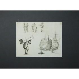 Антикварная гравюра с набросками кораблей и людей в порту. Англия, 19 век.