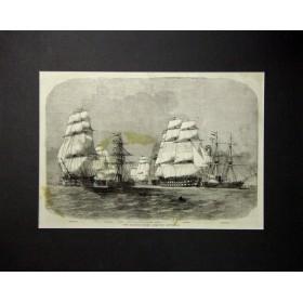 Старинная гравюра Балтийский флот покидает Спитхед. Англия, 1855 год.