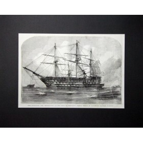 Старинная гравюра Трафальгар и Возмездие при осаде Севастополя. Англия, 1854 год.