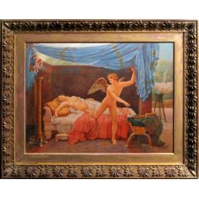 Антикварная картина Амур и Психея. Луиджи Крозио. Италия, 19 век.