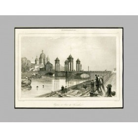 Санкт-Петербург. Фонтанка. Троицкий собор и Измайловский мост. Франция, 1838 год.