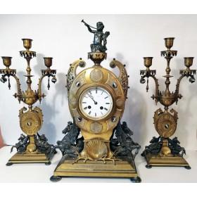 Англо-французский бронзовый часовой гарнитур. XIX век.