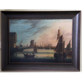 Старинная картина Морской пейзаж 19 века, голандская школа