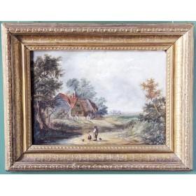 Антикварная картина Сельский пейзаж. Английская живопись. Неизвестный художник