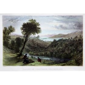 Долина Трутберг в районе Вестморлэнд на старинной английской гравюре 19 века