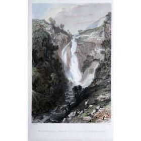 Водопад Стай в районе Камберлэнда в старинной английской гравюре 19 века