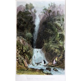 Антикварная гравюра с изображением водопада Форс в районе Камберлэнда