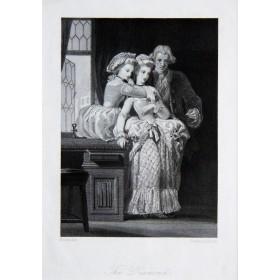 Старинная английская гравюра 19 века Галантный век. Алмаз