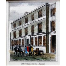 Старинная английская гравюра гостиницы Бриклаерс Армс 1835 года