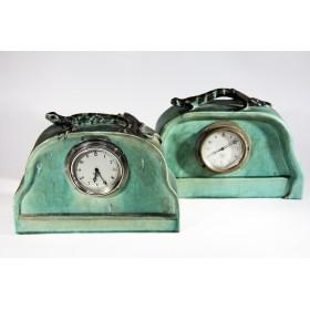 Редкие парные антикварные английские каминные часы Ар Деко Smith Sons Саламандра —Тритон