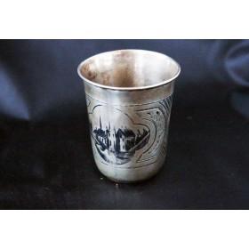 Антикварная серебряная русская стопка с чернением