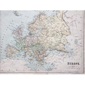 Старинная карта Европы, включая Россию, издательства Георг Филлипс и сыновья Лондон и Ливерпуль 1875 года.