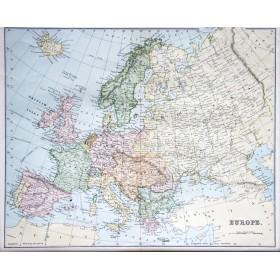 Антикварная английская карта Европы и России 19 века для статусного подарка и оформления интерьера