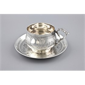 Антикварная серебряная чайная пара, Франция, конец 19 в