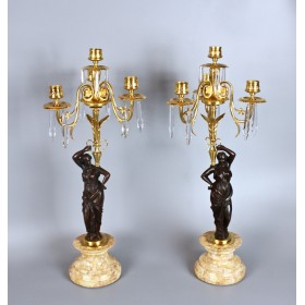 Парные канделябры с изящными хрустальными подвесками, на четыре свечи каждый, Европа 20 век