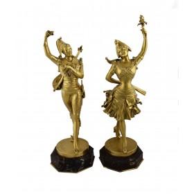Парные бронзовые статуэтки Арлекин и Коломбина. Франция, 1920-30 гг