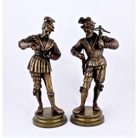 Парные статуэтки Солдаты. Европа, 19 век.  Бронза, литье, патинирование