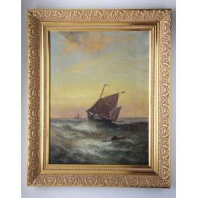 Старинная картина XX века Шторм художника W. Rogers