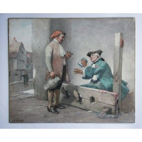 Антикварная картина. Приятная беседа. Англия кон 19 века. Картон. Пастель.