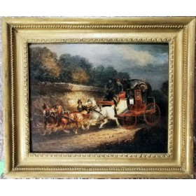 Антикварная жанровая картина. Живопись. Карета. Англия. Начало 19 века.