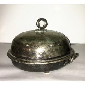 Серебряное составное блюдо с крышкой