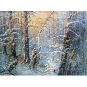 Старинная картина Зимний закат