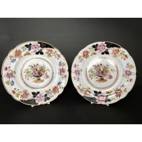 Две фарфоровые тарелки завода Попова