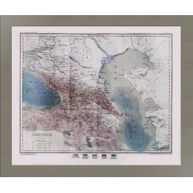 Большая старинная карта Кавказа 1880 года