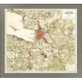 Карта окрестностей Санкт-Петербурга 1909 года выпуска