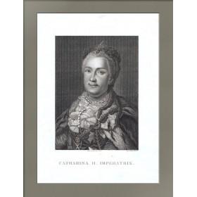 Старинный гравированный портрет императрицы Екатерины Великой