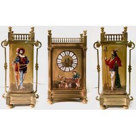 Старинные каминные расписные часы