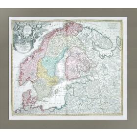 Антикварная карта Скандинавия и Россия 1710 Иоганн Баптист Хоманн
