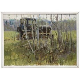 Картина Трактор. Весна
