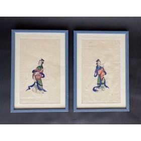 Пара антикварных рисунков на рисовой бумаге