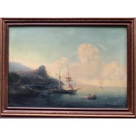 Антикварная картина Вечерний залив