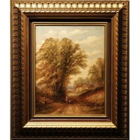 Старинная картина На деревенской дороге