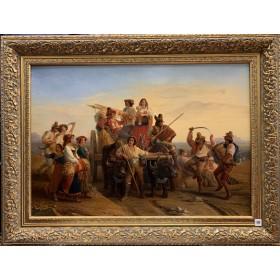 Антикварная картина Прибытие жнецов на Понтийские болота