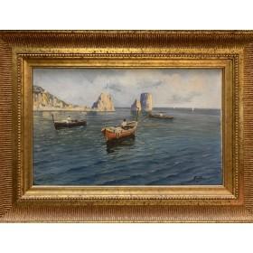 Старинная картина Рыбаки