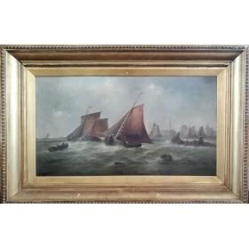 Морской пейзаж Шторм. Англия, XiX век.