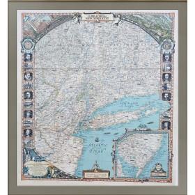 Живописная карта достопримечательностей Нью-Йорка