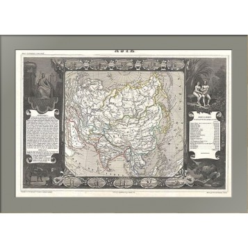 Антикварная карта Азии 1852 года