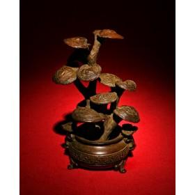Антикварное окимоно грибы Reishi mushrooms