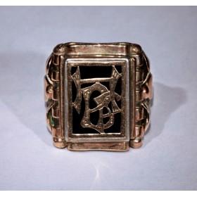 Старинное кольцо с монограммой HBF